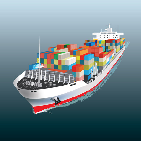 Illustration pour Aerial view of a Cargo vessel  Vector illustration - image libre de droit