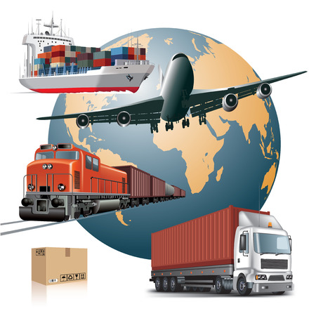 Photo for World wide cargo transport concept  Vector illustration - Royalty Free Image