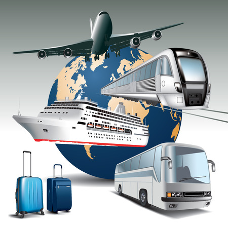 Photo pour Transportation passenger by all means of transport   Vector illustration - image libre de droit