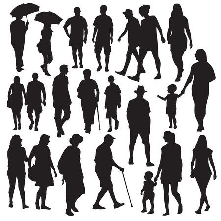 Illustration pour Set of walking people silhouettes. Vector illustration - image libre de droit