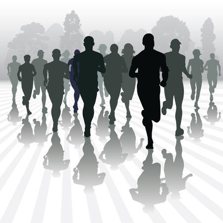 Ilustración de Running people in the park. Vector illustration - Imagen libre de derechos