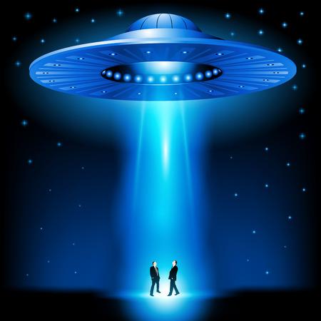 Illustration pour Flying saucer arrived at night. Vector illustration - image libre de droit