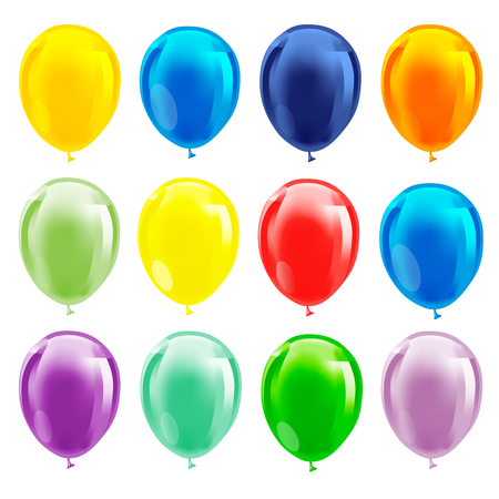 Illustration pour Set of colourful birthday or party balloons. Vector illustration - image libre de droit