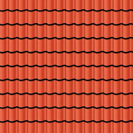 Illustration pour Red corrugated tile element of roof. Seamless pattern. Vector illustration - image libre de droit