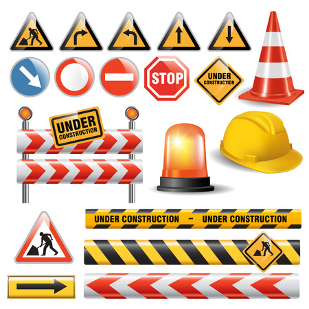 Photo pour Set of signs and symbols under construction. Vector illustration - image libre de droit