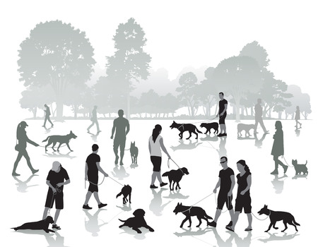 Illustration pour People walking in the park with dogs. Vector illustration - image libre de droit