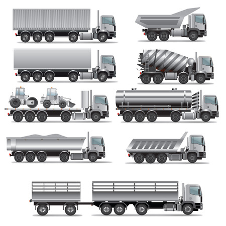 Illustration pour Set of truck for cargo transportation. Vector illustration - image libre de droit