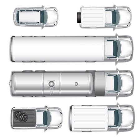 Illustration pour Top view different automobiles set isolated on white. Vector illustration - image libre de droit