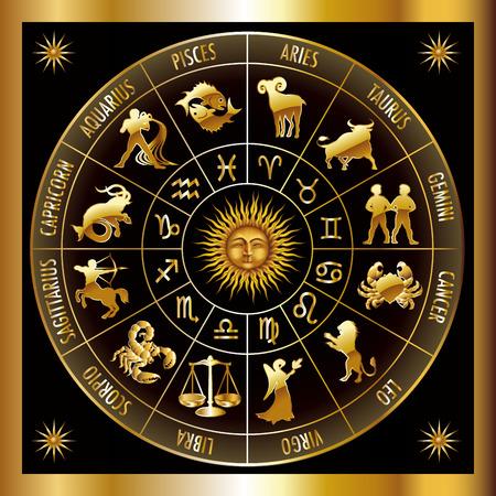 Illustration pour Circle with signs of zodiac. Vector illustration. - image libre de droit