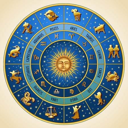 Illustration pour Circle of the zodiac signs. Vector Illustration - image libre de droit
