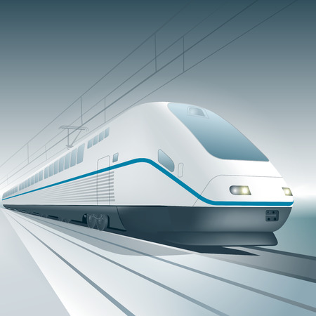Modern high speed train isolated on background. Vector illustration