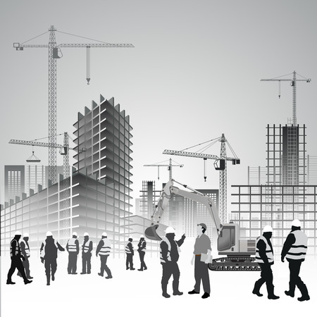 Photo pour Construction site with cranes, excavator and workers. Vector illustration - image libre de droit