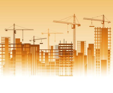 Illustration pour Lots of cranes on construction site. Vector illustration - image libre de droit