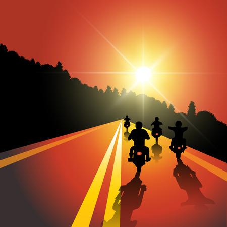 Ilustración de Group of bikers riding on sunset street. Vector illustration - Imagen libre de derechos