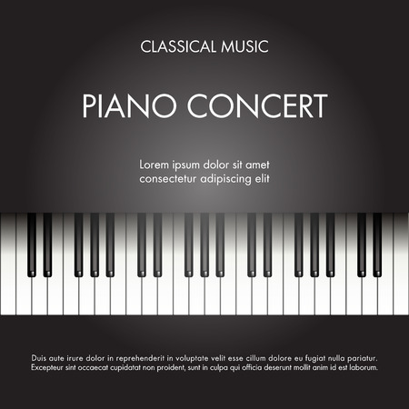 Illustration for Classic music piano background for poster, web, leaflet, magazine. Vector illustration - Royalty Free Image