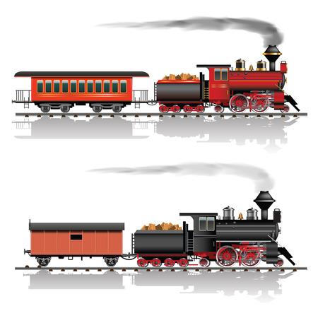 Ilustración de Old american steam locomotive. Passenger and freight wagon. Vector illustration - Imagen libre de derechos
