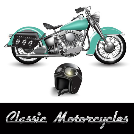Illustration pour Classic motorcycle and helmet with goggles. Vector illustration - image libre de droit