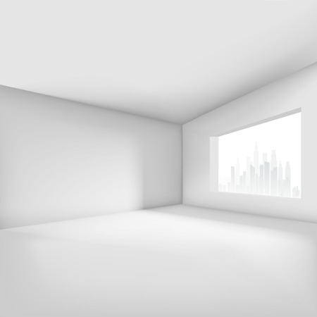 Illustration pour Empty room with window overlooking the city. Vector illustration - image libre de droit