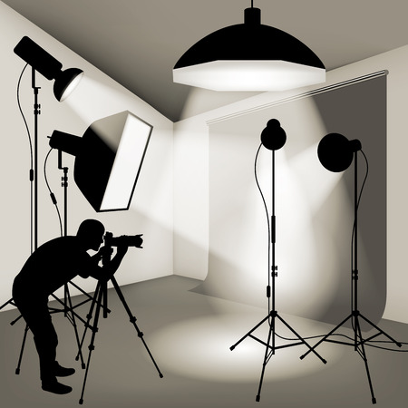 Illustration pour Man using professional camera in the photo studio. Vector illustration - image libre de droit