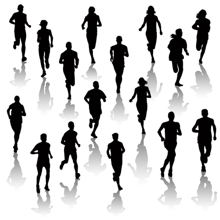 Illustration for Collection of running people isolated on white. Vector illustration - Royalty Free Image