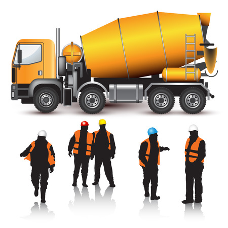 Illustration pour Concrete mixer truck and workers isolated on white. Vector illustration - image libre de droit