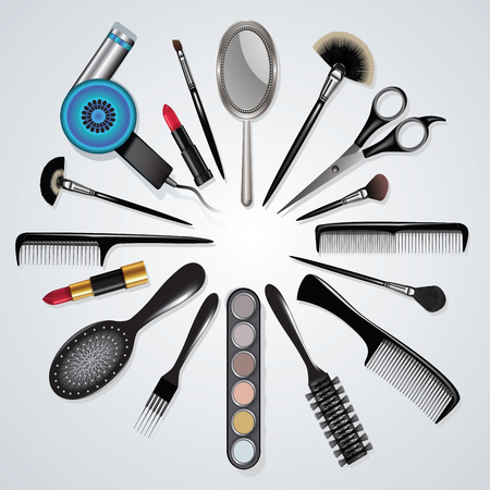 Illustration pour Hairdressing and makeup equipment isolated on white. Vector illustration - image libre de droit