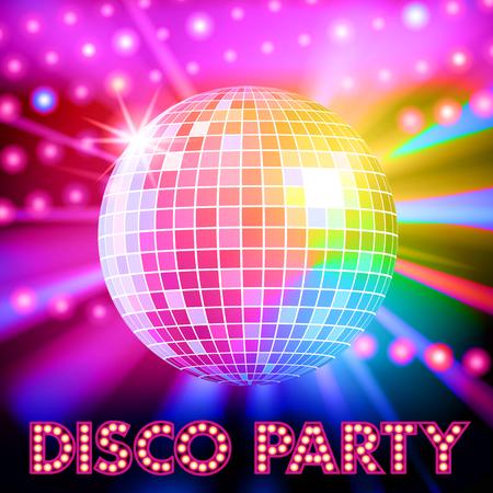 Illustration pour Disco lights and shiny disco ball. Vector illustration - image libre de droit