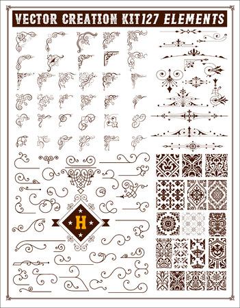 Illustration pour Elements for design. Corners, accents and patterns set - image libre de droit