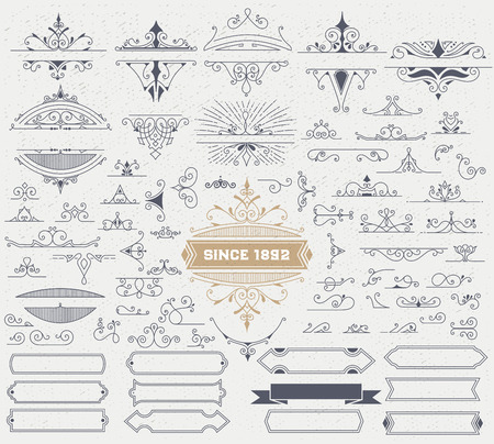 Illustration for Kit of Vintage Elements for Invitations, Banners, Posters, Placards, Badges or . - Royalty Free Image