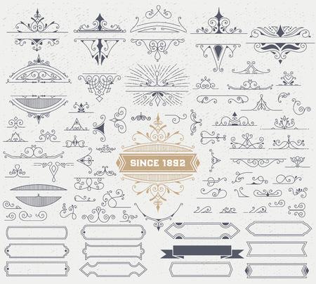 Illustration pour Kit of Vintage Elements for Invitations, Banners, Posters, Placards, Badges or . - image libre de droit