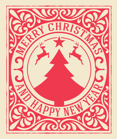 Illustration for Christmas greeting card background. vintage ornament decoration with Merry Christmas holidays and Happy new year message. - Royalty Free Image
