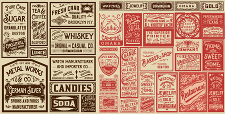 Illustration pour Mega set of old advertisement designs and labels - Vector illustration - image libre de droit