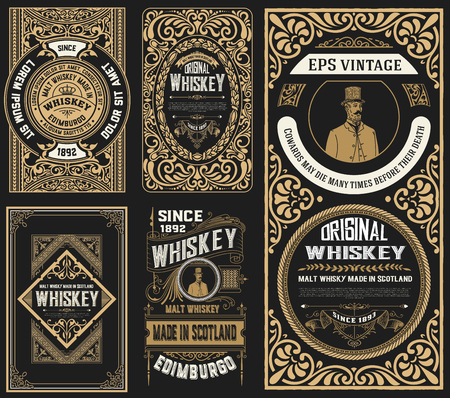 Illustration for Set of 5 old labels. Western style - Royalty Free Image