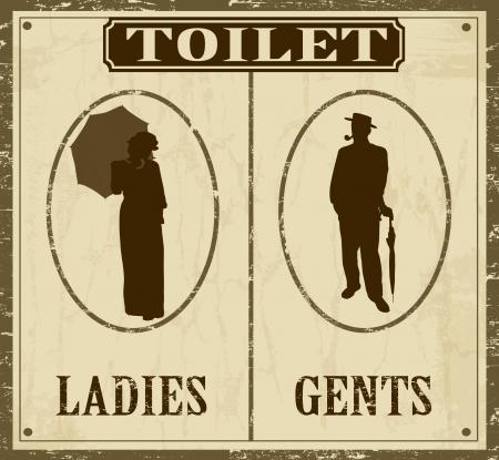 Toilet retro vintage grunge poster, vector illustrator