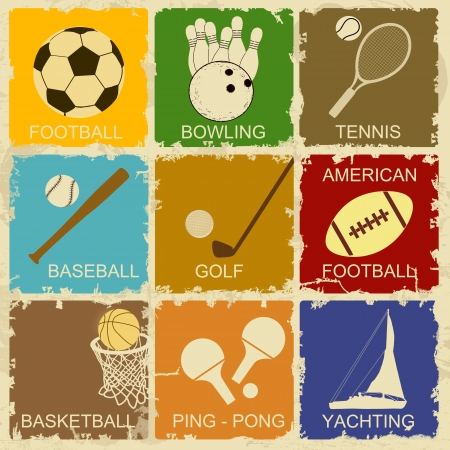 Set of Vintage Sports separate Labels - Retro Signs poster, vector illustration