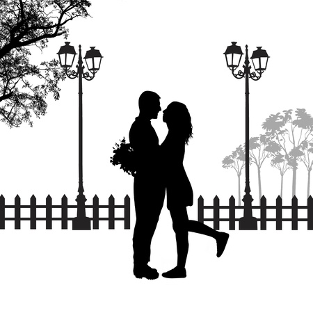 Illustration for Romantic couple silhouette embrace in love on beautiful landscape, vector illustration  - Royalty Free Image