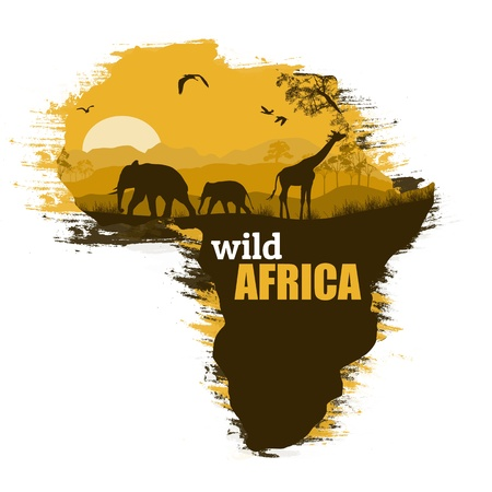 Illustration for Wild african animals silhouettes on the map of Africa, with space for your text - Royalty Free Image