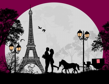 Illustration for Carriage and lovers at night in Paris, romantic background, vector illustration - Royalty Free Image