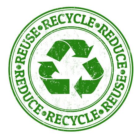 Ilustración de Green grunge rubber stamp with the words reuse, reduce and recycle written inside - Imagen libre de derechos