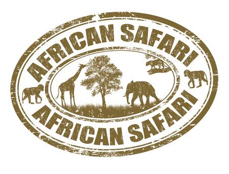 Illustration for African safari grunge rubber stamp on white, vector illustration - Royalty Free Image