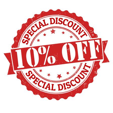 Illustration pour Special discount 10% off grunge rubber stamp on white, vector illustration - image libre de droit