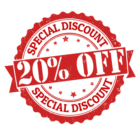 Illustration pour Special discount 20% off grunge rubber stamp on white, vector illustration - image libre de droit