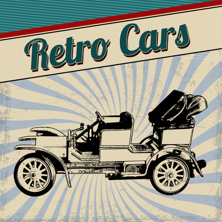 Retro cars poster design. Vintage grunge retro cars concept vector illustration mural