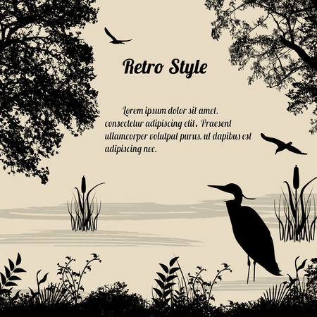 Illustration pour Heron silhouette on lake on retro style background, vector illustration - image libre de droit