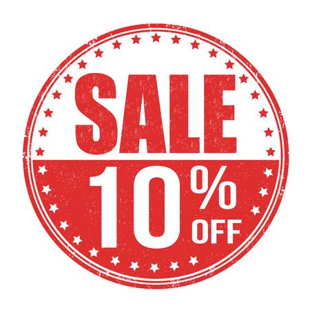Illustration pour Sale 10% off grunge rubber stamp on white background, vector illustration - image libre de droit