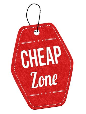 Cheap zone red leather label or price tag on white background, vector illustration