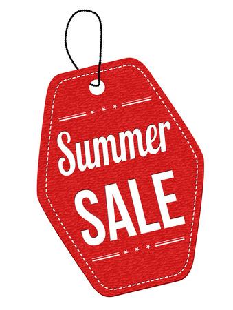 Illustration pour Summer sale red leather label or price tag on white background, vector illustration - image libre de droit