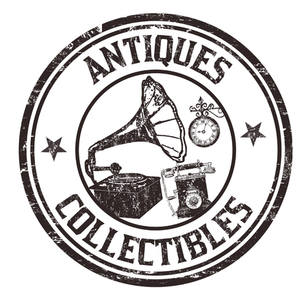 Illustration pour Antiques and collectibles grunge rubber stamp on white background, vector illustration - image libre de droit