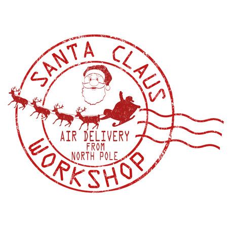 Illustration pour Santa Claus workshop grunge rubber stamp on white background, vector illustration - image libre de droit
