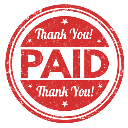 Illustration pour Paid and thank you grunge rubber stamp on white background, vector illustration - image libre de droit
